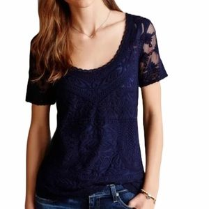Meadow Rue embroidered mesh sheer blouse boho top